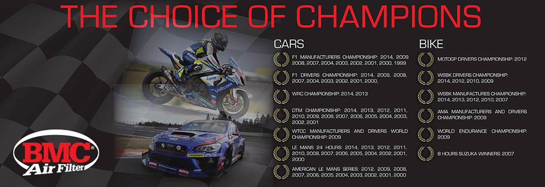 BMC air filter choice of champions